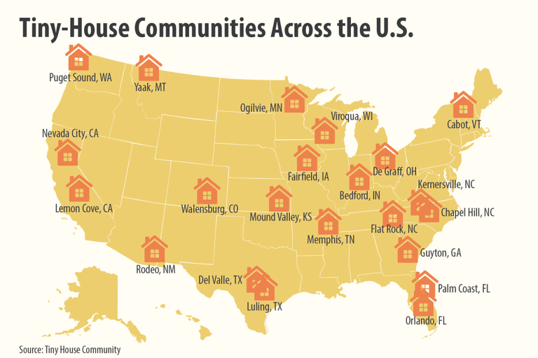 Which states have the most tiny-house communities?